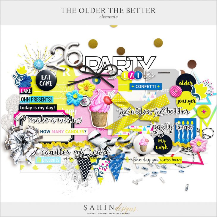 The Older The Better Digital Scrapbook Elements by Sahin Designs. Click to download the kit. Pin & save for later!