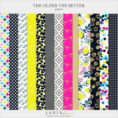The Older The Better Digital Scrapbook Papers by Sahin Designs. Click to download the kit. Pin & save for later!