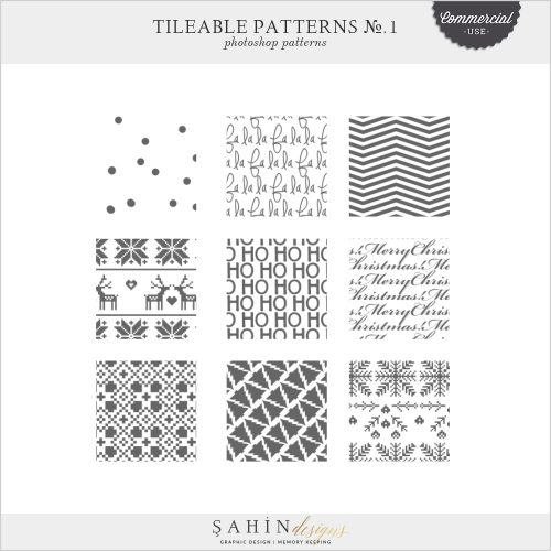 Tileable Photoshop Patterns No.1 by Sahin Designs | Commercial Use Digital Scrapbook Supplies