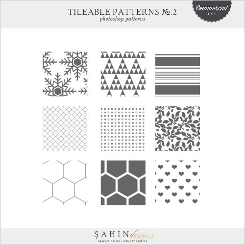 Tileable Photoshop Patterns No.2 by Sahin Designs | Commercial Use Digital Scrapbook Supplies