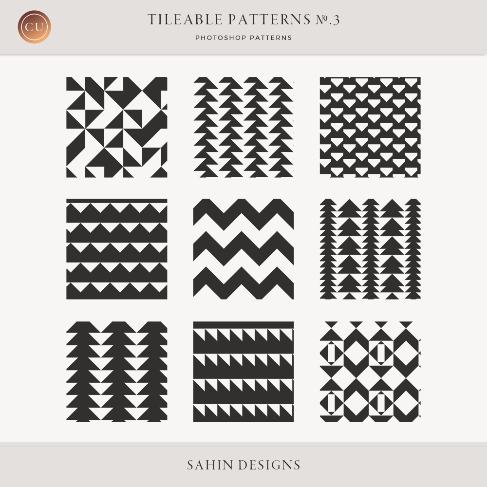 Tileable Patterns No.3 Commercial Use Digital Scrapbook by Sahin Designs