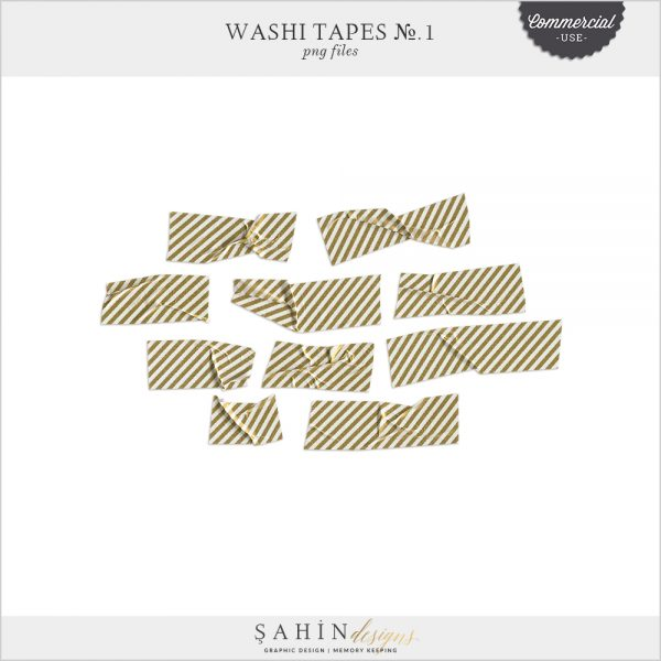 Washi Tapes No. 1 by Sahin Designs. Commercial Use Digital Scrapbook Supplies. Click to download the kit. Pin & save for later!