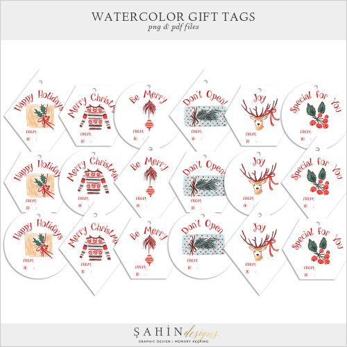 Printable Watercolor Christmas Gift Tags by Sahin Designs. Click to download the kit. Pin & save for later!