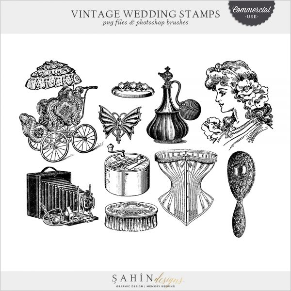 Vintage Wedding Stamps by Sahin Designs. Commercial Use Digital Scrapbook Supplies. Click to download the kit. Pin & save for later!