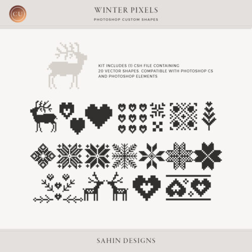 Winter Pixels Photoshop Custom Shapes by Sahin Designs | Commercial Use Digital Scrapbook Supplies