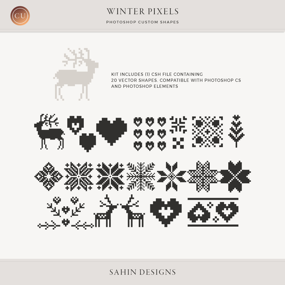 Winter Pixels Photoshop Custom Shapes by Sahin Designs   Commercial Use Digital Scrapbook Supplies