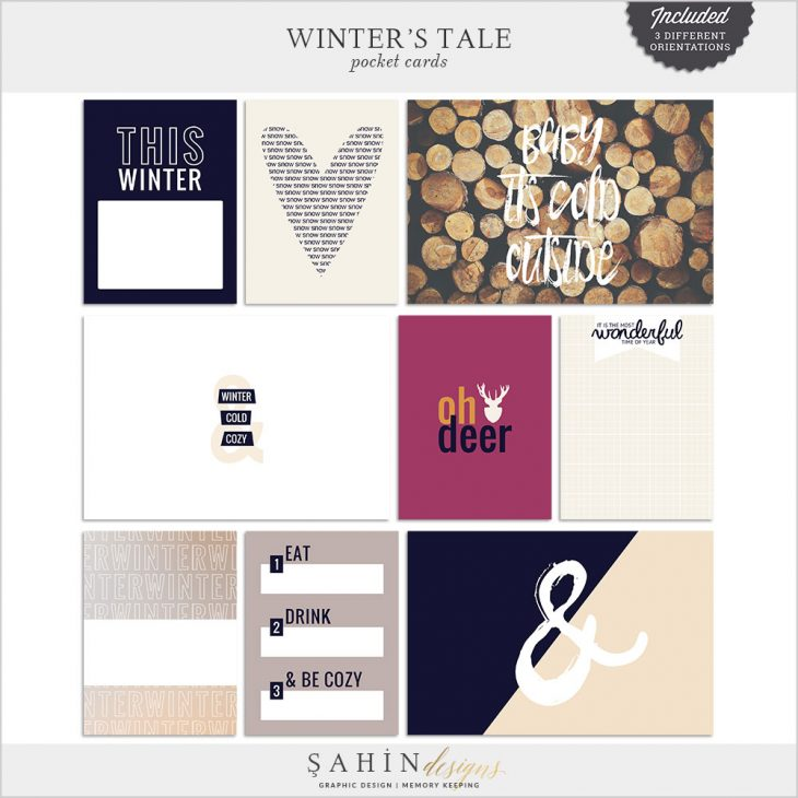 Winter's Tale Printable Digital Scrapbook Pocket Cards by Sahin Designs. Click to download the kit. Pin & save for later!