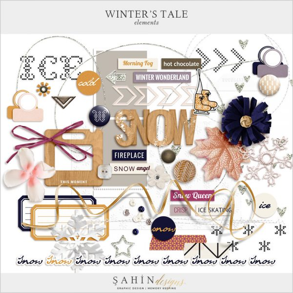 Winter's Tale Digital Scrapbook Elements by Sahin Designs. Click to download the kit. Pin & save for later!