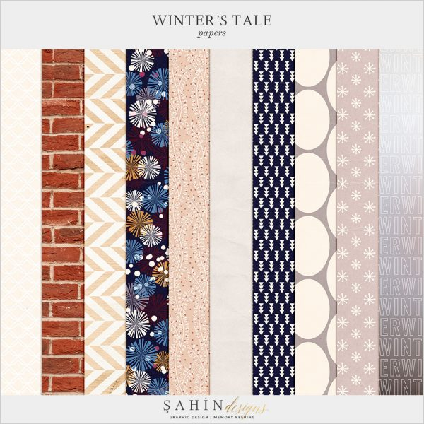 Winter's Tale Digital Scrapbook Papers by Sahin Designs. Click to download the kit. Pin & save for later!