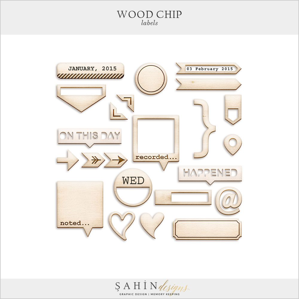 Woodchip Labels Digital Scrapbook Elements by Sahin Designs. Click to download the kit. Pin & save for later!