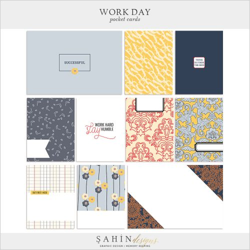 Work Day Digital Scrapbook Pocket Cards by Sahin Designs. Click to download the kit. Pin & save for later!