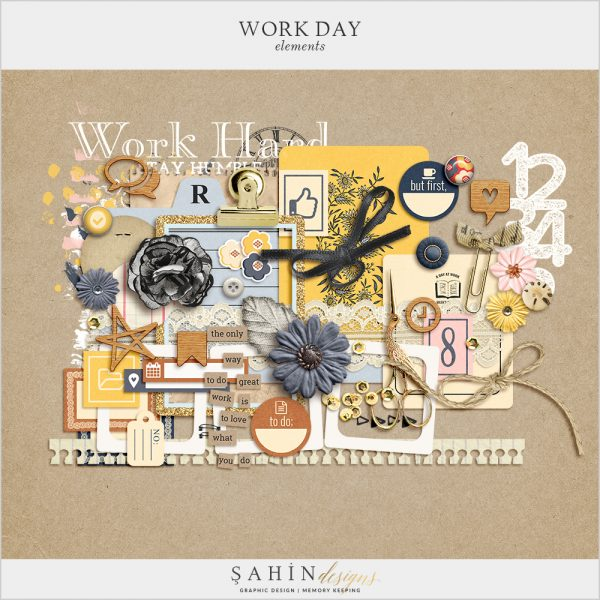 Work Day Digital Scrapbook Elements by Sahin Designs. Click to download the kit. Pin & save for later!
