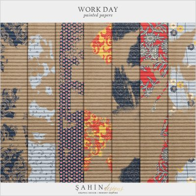 Work Day Digital Scrapbook Painted Papers by Sahin Designs. Click to download the kit. Pin & save for later!