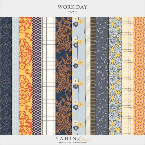 Work Day Digital Scrapbook Papers by Sahin Designs. Click to download the kit. Pin & save for later!
