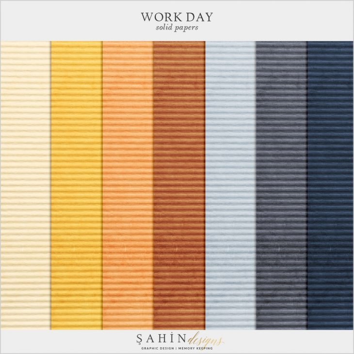 Work Day Digital Scrapbook Solid Papers by Sahin Designs. Click to download the kit. Pin & save for later!