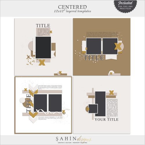 Centered Digital Scrapbook Templates/Sketches by Sahin Designs. Click to download the kit. Pin & save for later!