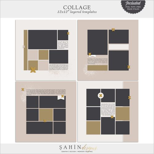 Collage Digital Scrapbook Layout Templates/Sketches by Sahin Designs. Click to download the kit. Pin & save for later!