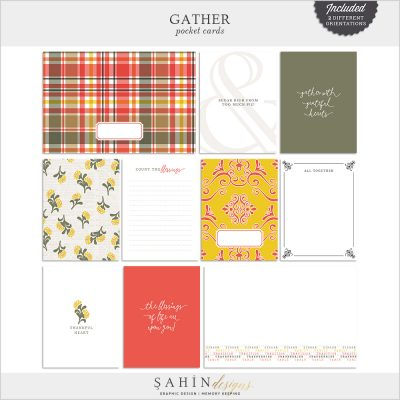 Gather Digital Scrapbook Pocket Cards by Sahin Designs. Click to download the kit. Pin & save for later!
