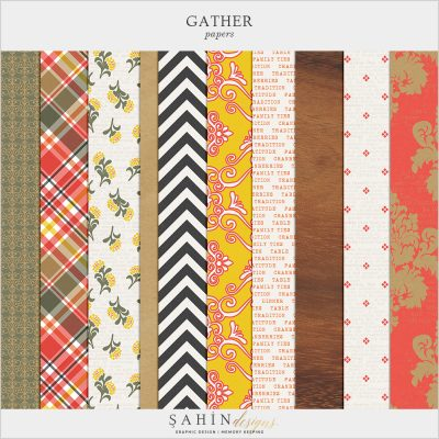 Gather Digital Scrapbook Papers by Sahin Designs. Click to download the kit. Pin & save for later!