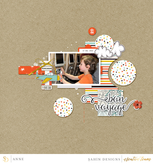 Digital scrapbook layout on Sahin Designs using Around The World digiscrap collection. Click through to have a look at all May creative gallery!