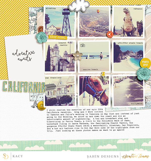 Digital scrapbook layout using Around The World collection by Sahin Designs. Click thru to see more inspirations. Pin & save for later!