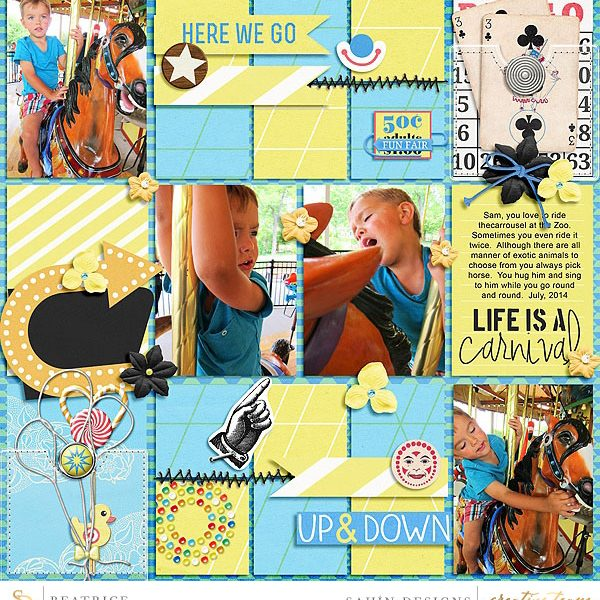 Digital scrapbook layout using At The Fair collection by Sahin Designs. Click thru to see more inspirations. Pin & save for later!