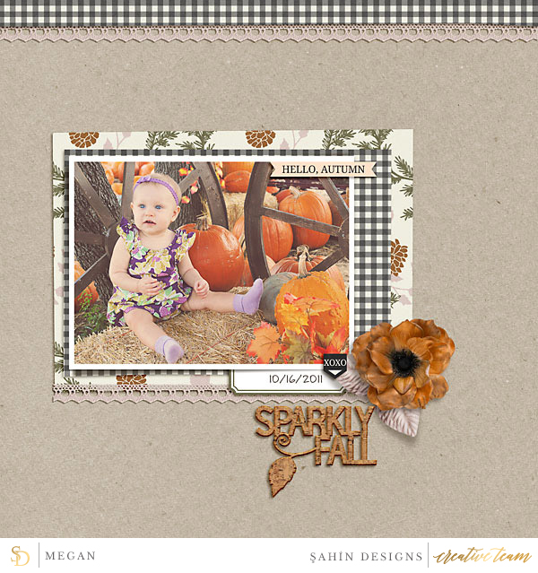 Digital scrapbook layout using Autumn Day collection by Sahin Designs. Click thru to see more inspirations. Pin & save for later!