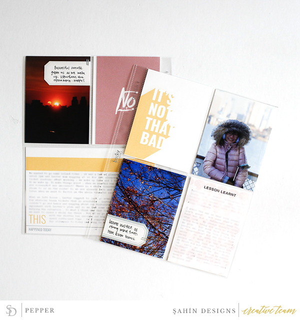 Hybrid Pocket scrapbook layout using Bad Day collection by Sahin Designs. Click thru to see more inspirations. Pin & save for later!