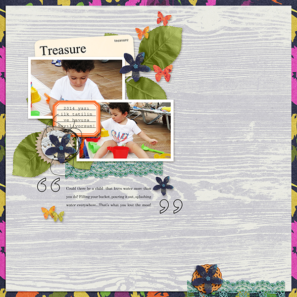 Digital scrapbook layout using Buried Treasures collection by Sahin Designs. Click thru to see more inspirations. Pin & save for later!
