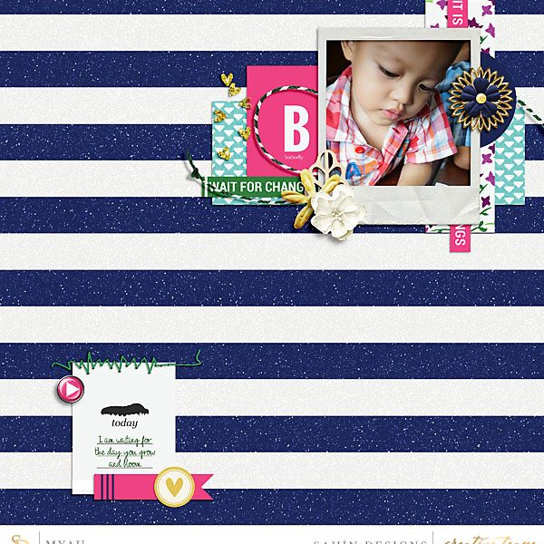 Digital scrapbook layout using Butterfly Lullaby collection by Sahin Designs. Click thru to see more inspirations. Pin & save for later!