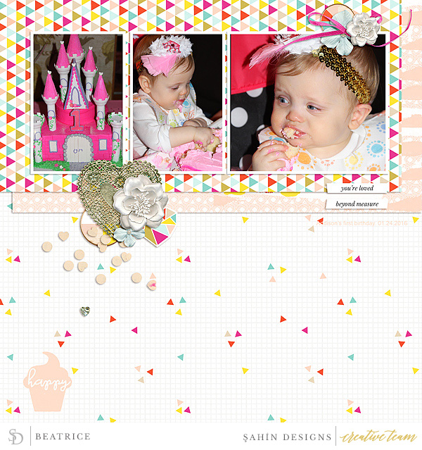 Digital scrapbook layout using Cupid collection by Sahin Designs. Click thru to see more inspirations. Pin & save for later!