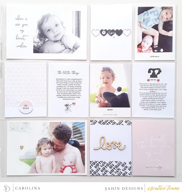 Hybrid Pocket scrapbook layout using Cupid collection by Sahin Designs. Click thru to see more inspirations. Pin & save for later!