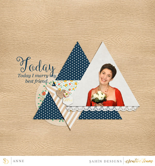 Digital scrapbook layout using Down The Aisle collection by Sahin Designs. Click thru to see more inspirations. Pin & save for later!