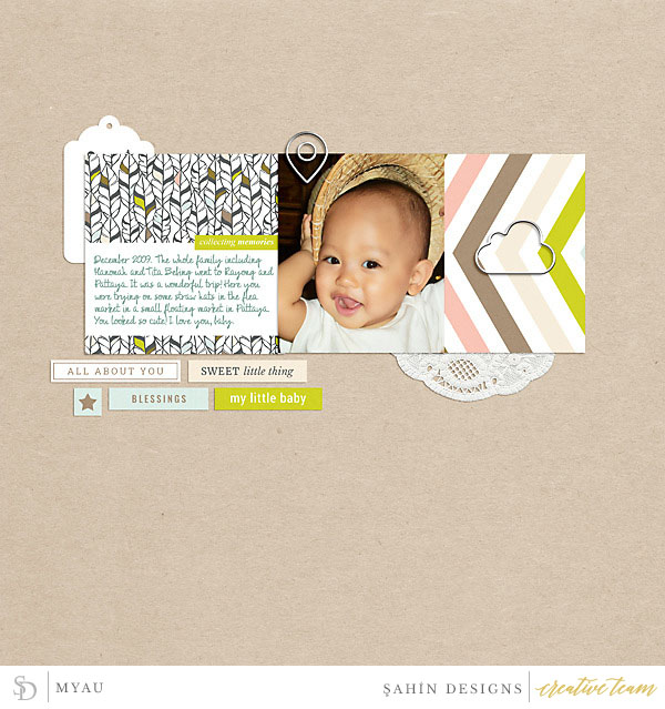 Digital scrapbook layout using Drift Off collection by Sahin Designs. Click thru to see more inspirations. Pin & save for later!