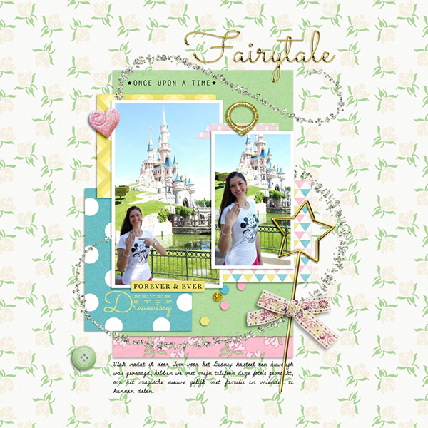 Digital scrapbook layout using Fairy Tales collection by Sahin Designs. Click thru to see more inspirations. Pin & save for later!