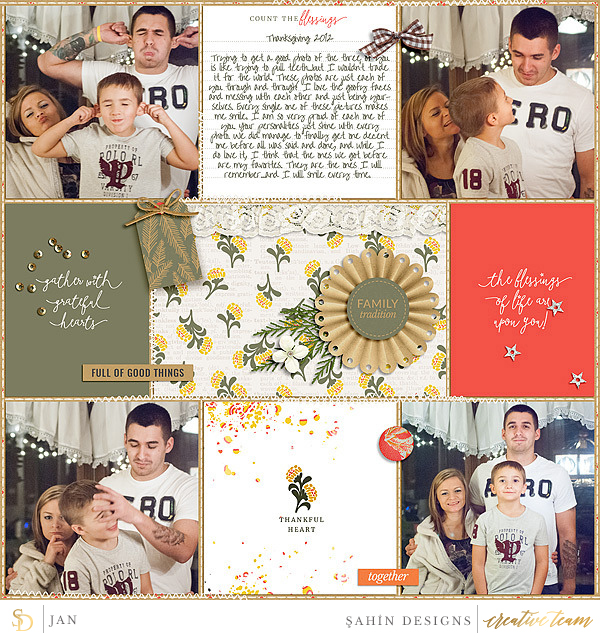 Digital scrapbook layout using Gather collection by Sahin Designs. Click thru to see more inspirations. Pin & save for later!