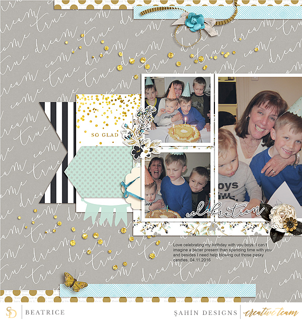 Digital scrapbook layout using Grad collection by Sahin Designs. Click thru to see more inspirations. Pin & save for later!