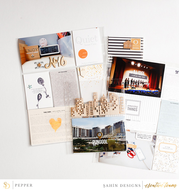 Hybrid Pocket scrapbook layout using Grad collection by Sahin Designs. Click thru to see more inspirations. Pin & save for later!