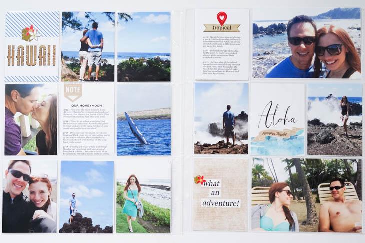 Hawaiian Honeymoon Inspirational Spread on Sahin Designs blog. Click to get inspired by hybrid pocket scrapbook layout I've made for my Hawaiian honeymoon. Pin & save for later!