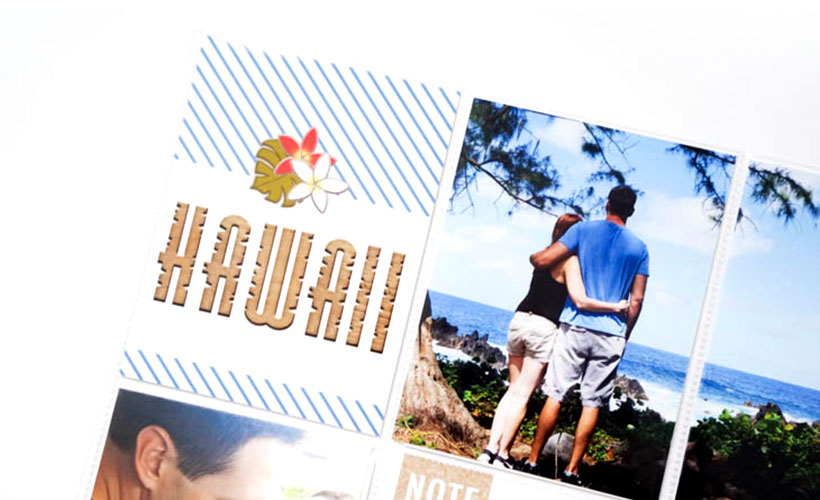 Hawaiian Honeymoon Inspirational Spread on Sahin Designs blog. Click to get inspired by hybrid pocket scrapbook layout I've made for my Hawaiian honeymoon. Pin & save for later!