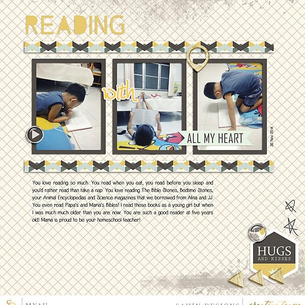 Digital scrapbook page on Sahin Designs using Lemonade collection. Click through to see more layouts like this or simply pin to save for a later time!