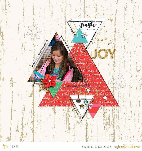 Digital scrapbook layout using Joyous collection by Sahin Designs. Click thru to see more inspirations. Pin & save for later!