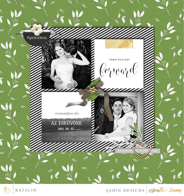 Digital scrapbook layout on Sahin Designs using Sunday Morning digiscrap collection. Click through to have a look at all June creative gallery!