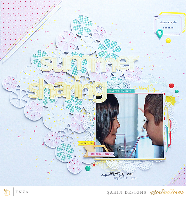 Hybrid scrapbook layout using Lemonade collection by Sahin Designs. Click thru to see more inspirations. Pin & save for later!