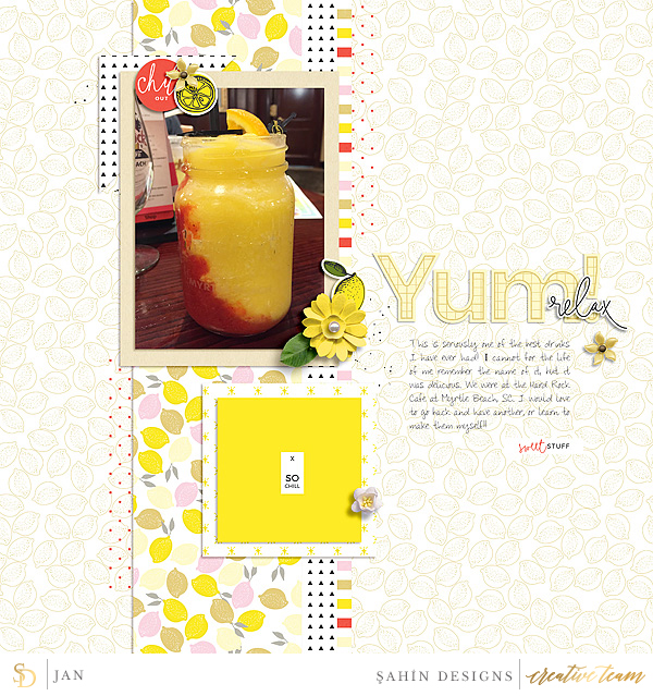 Digital scrapbook layout using Lemonade collection by Sahin Designs. Click thru to see more inspirations. Pin & save for later!