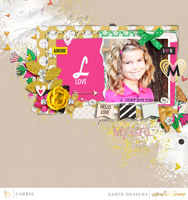 Digital scrapbook layout using Love Letter collection by Sahin Designs. Click thru to see more inspirations. Pin & save for later!