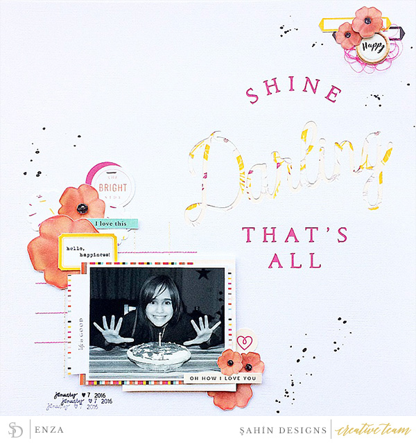 Hybrid scrapbook layout using Luminary collection by Sahin Designs. Click thru to see more inspirations. Pin & save for later!