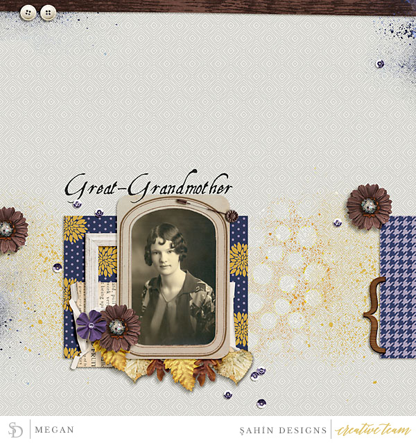 Digital scrapbook layout using Matriarch collection by Sahin Designs. Click thru to see more inspirations. Pin & save for later!