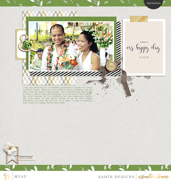 Digital scrapbook layout on Sahin Designs using Special Day digiscrap collection. Click through to have a look at all May creative gallery!