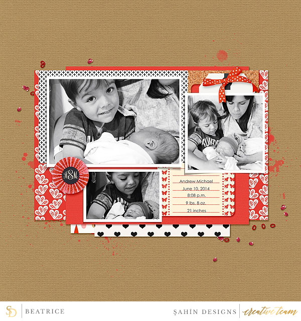 Digital scrapbook layout using Oh Baby Baby collection by Sahin Designs. Click thru to see more inspirations. Pin & save for later!